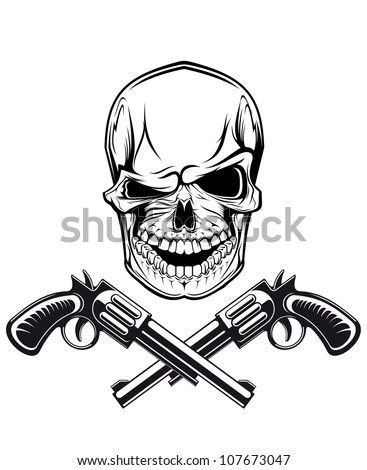 Smiling skull with revolvers for tattoo design, such a logo. Vector version also available in gallery