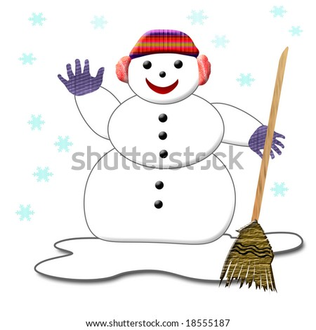 smiling snowman in gloves and hat holding a broom