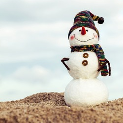 Smiling snowman on the sea beach. Holiday concept can be used for New Year and Christmas Cards