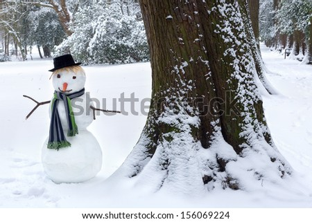 Smiling snowman standing beside a big tree trunk in the park