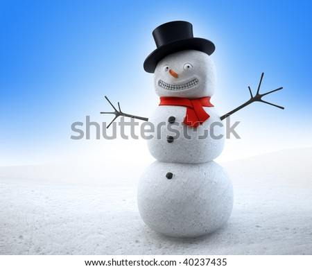 Smiling snowman with a red scarf and a top-hat