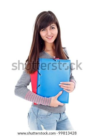 Smiling student girl with notebooks over white background