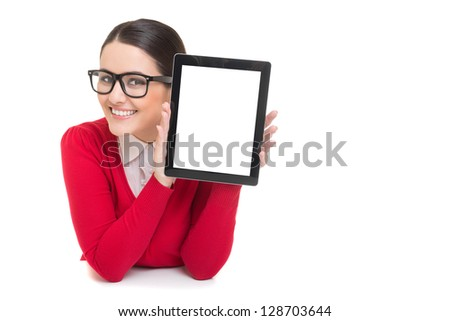 Smiling successful businesswoman showing digital tablet screen