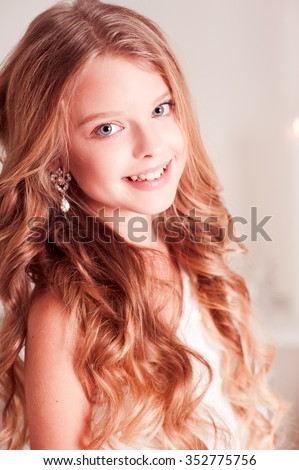 Smiling Teen Girl 14 15 Year Old With Blonde Curly Hair