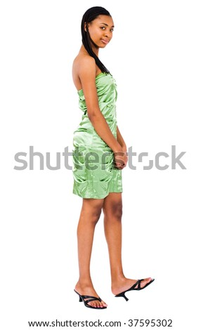 Smiling teenage girl posing isolated over white