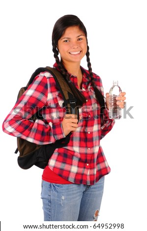 Smiling teenage girl wearing a plaid shirt and backpack holding a water bottle. Vertical format isolated over white