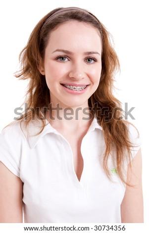 Smiling teenager wearing braces