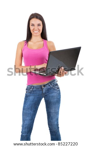 smiling teenager with lap top on white background