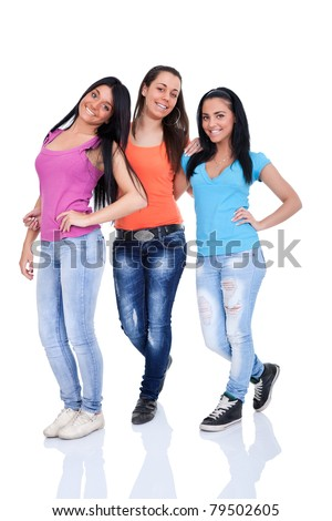 smiling teenagers girls posing on white background