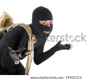 Smiling thief helpless in front of his job isolated on white