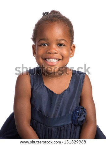 Smiling Three Years Old Adorable African American Girl Head and Shoulders Portrait on White Background - stock photo