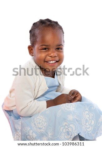 Smiling Three Years Old Adorable African American Girl Portrait on White Background