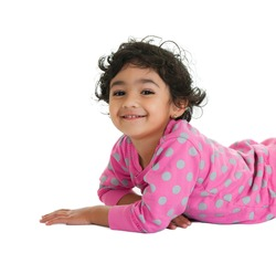 Smiling Toddler Girl, Isolated, White