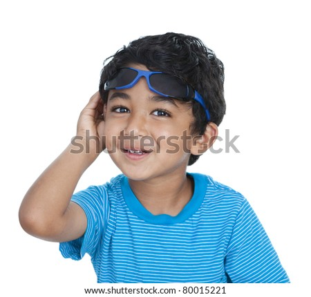 Smiling Toddler with Raised Sunglasses, Isolated, White