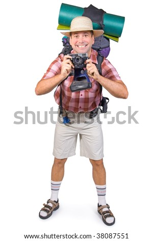 smiling tourist with camera