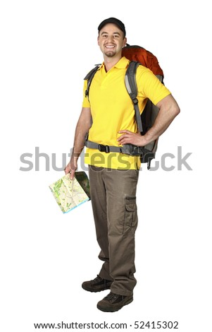 smiling traveler with map isolated on white background