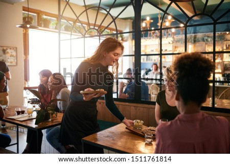 Smiling waitress serving an order of food to a group of young friends having drinks and eating together in a bistro