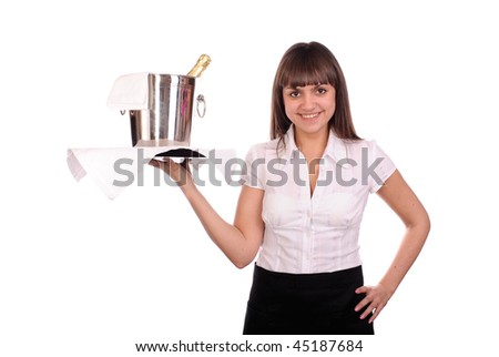 smiling waitress with bottle of champagne in bucket with ice. isolated on white