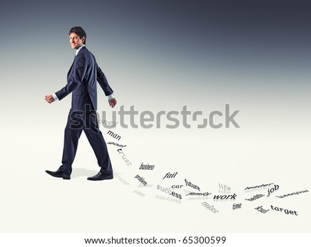 smiling walking businessman and falling words