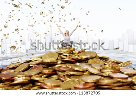 smiling woman and euro coin rain