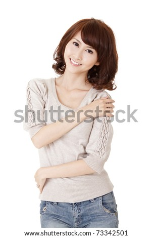 Smiling woman, closeup portrait of Asian beauty with casual dressing on white background.