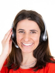 smiling woman customer support phone operator in headset in callcenter office