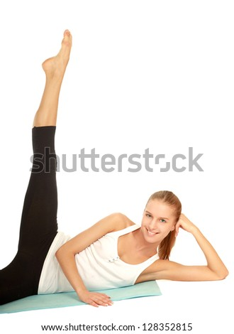 smiling woman doing stretching excersises isolated on white background