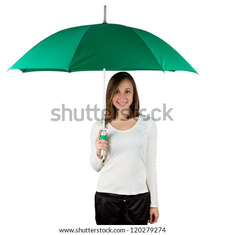 Smiling woman holding a green umbrella isolated on white