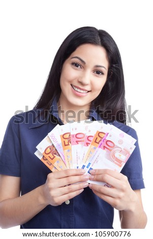 Smiling woman holding euro note in hand isolated on white background.