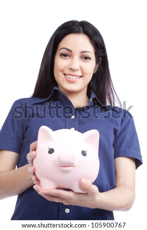 Smiling woman holding piggy bank isolated on white background.