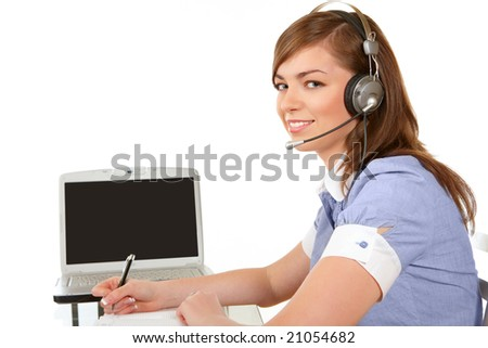 Smiling woman in headset working in office on a white background
