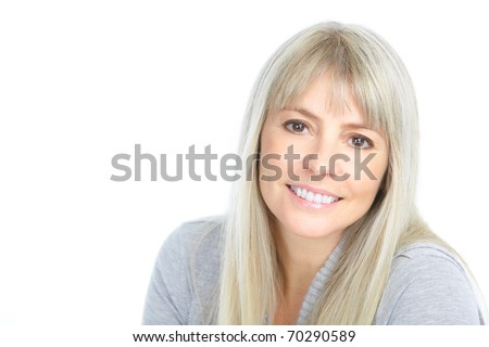 smiling woman. Isolated over white background