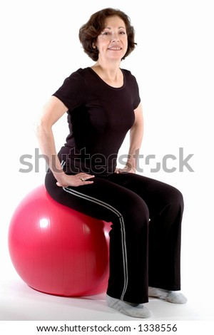 smiling woman on fitness ball