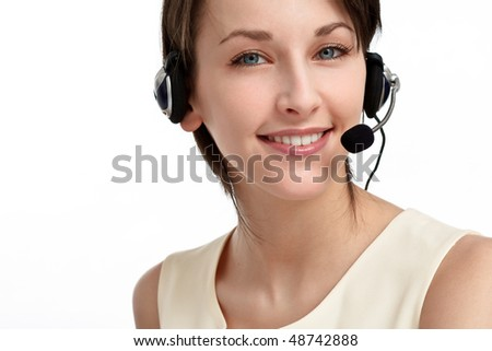 smiling woman operator with headset - microphone and headphones, on white