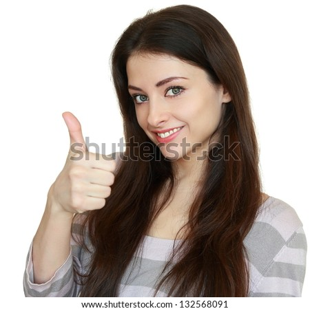Smiling woman showing thumb up. Ok sign. Closeup portrait isolated on white background - stock photo