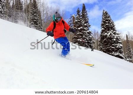 Smiling woman skiing fresh powder snow in the Utah backcountry, USA.