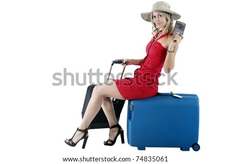smiling woman traveling with money and passport