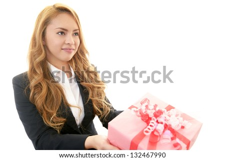 Smiling woman with a gift