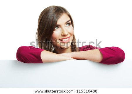Smiling woman with  big blank board . Close up female face portrait with arms on blank card. Thumb up.