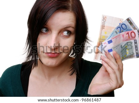 smiling woman with euro bills - stock photo