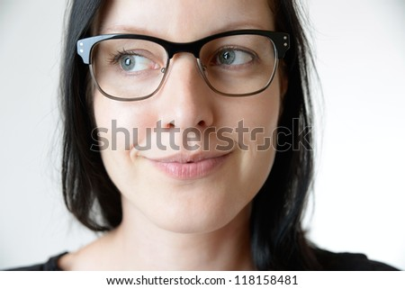 smiling woman with eye glasses