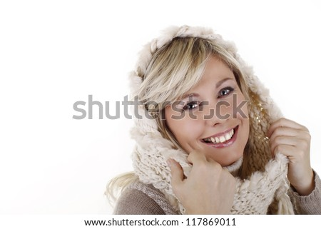 Smiling woman with scarf