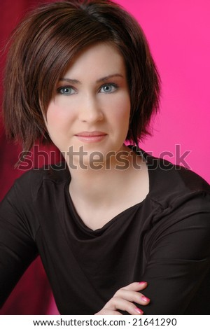 Smiling woman with stylish short