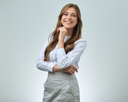 Smiling woman with toothy smile wearing white shirt. business woman isolated portrait.