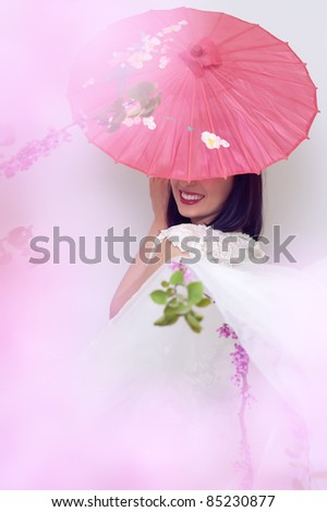 smiling women hiding her eyes behind the pink china umbrella