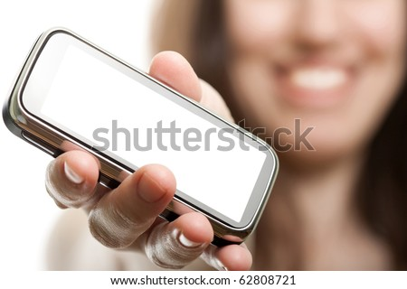 Smiling women holding mobile communication phone