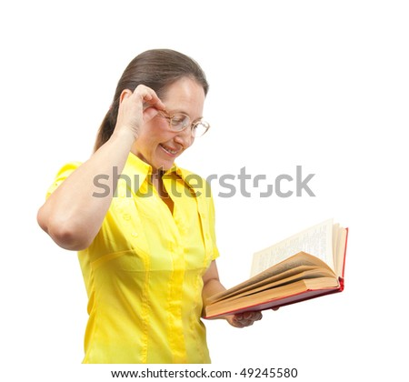 Smiling women in glasses holding red book isolated over white - stock photo