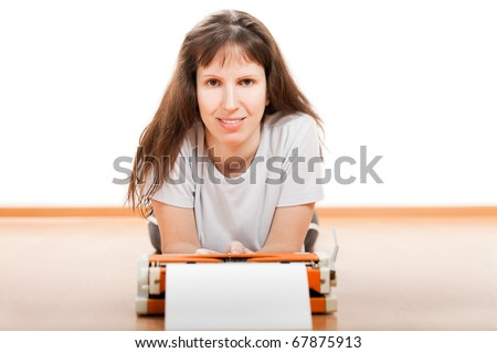 Smiling women typewriter typing blank paper text