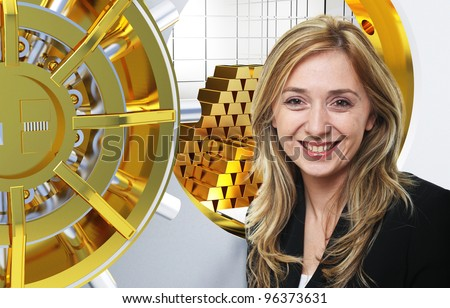 smiling worker and bank background