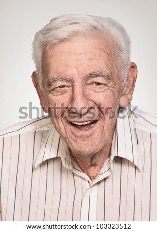 Smiling 90 year old elder senior handsome man portrait #103323512